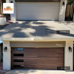 Garage Doors for New Homes before and after